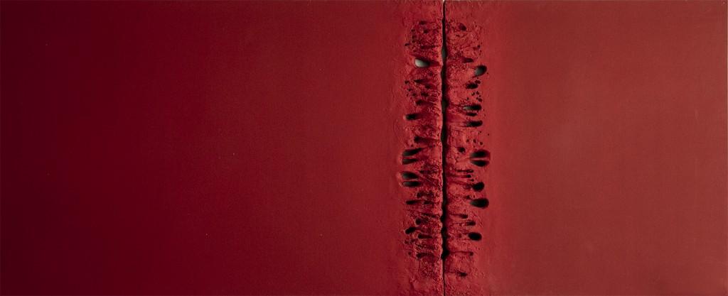 crveni diptih , 120 x 240 cm , kombinirana tehnika , 2015.